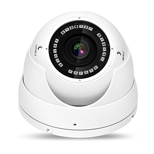 NYXCAM 1080P Dome Security Camera, 2.1MP HD 4 in 1 (TVI, AHD, CVI, Analog) CCTV Indoor & Outdoor Surveillance Camera, 2.8mm-12mm Varifocal Zoom Lens, 130ft Night Vision and IP66 Weatherproof (White)