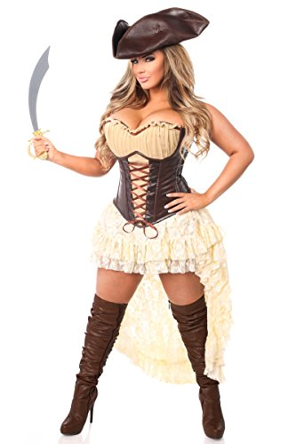 Daisy Corset Costumes (Daisy Corsets Top Drawer 4 PC Pirate Captain Women's Costume)