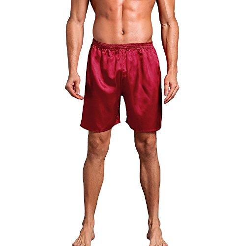 Underwear for Men Kstare Robes Shorts Mens Silk Satin Pajama Sleepwear Homewear Loungewear Leggings Red -