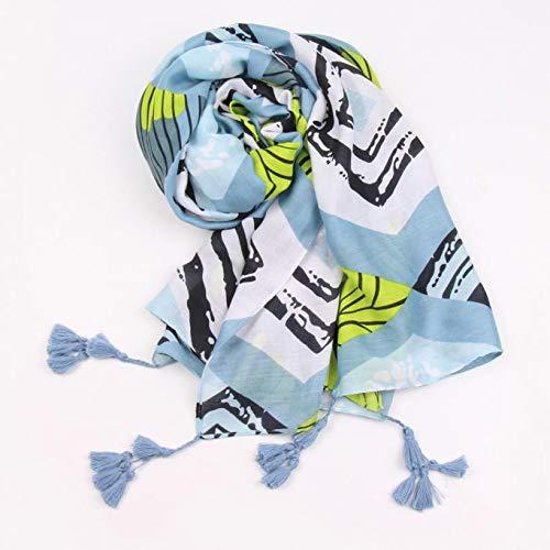 Boomdan Women Sleeve Stripe Print Scarf Shawls Wraps Lightweight Floral Pattern Satin for Headscarf&Neck (Blue) by Boomdan (Image #3)