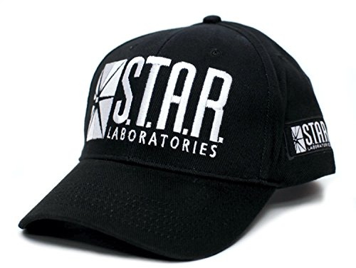 All Star Embroidered Cap - Star Labs Laboratories Embroidered Hat Cap S.T.A.R. Unisex Adult Comic Black