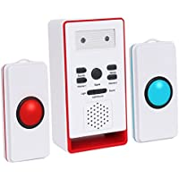 InnoGear Caregiver Pager with Two Call Button for the Elderly Nurse Call Alert Patient Disabled
