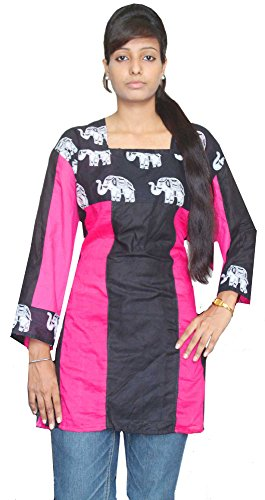 Indian-100-Cotton-Kurti-Top-Tunic-plus-size-Animal-Print-Women-Ethnic-Black-Color