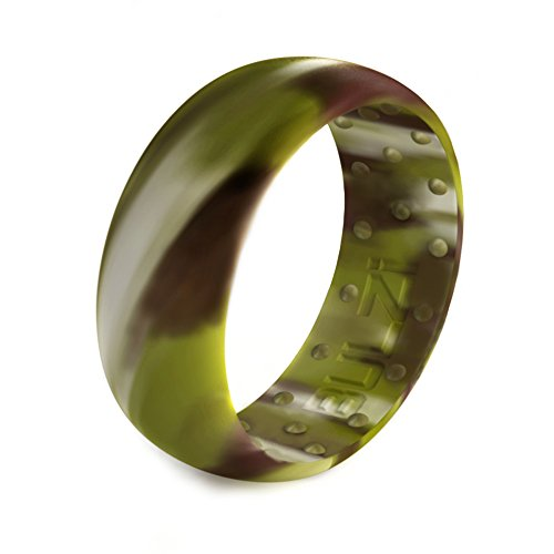 (BULZi - Massaging Comfort Fit Silicone Wedding Ring - #1 Most Comfortable Men's Wedding Band - Round Edges with Flexible Work Safety Domed Design (Woodland Camo, 8-18.2mm))