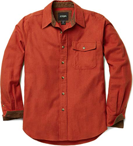 CQR Men's Flannel Long Sleeved Button-Up Plaid All Cotton Brushed Shirt, Solid(hof110) - Orange, Large