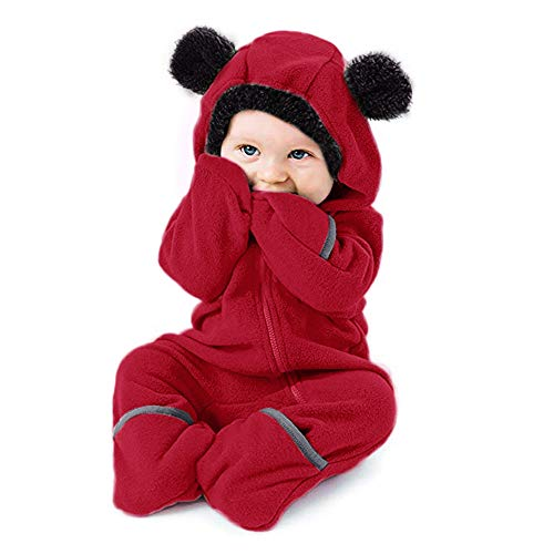 Tronet Fleece Baby Bunting Onesie Jacket – Infant Pajamas Romper Winter Outerwear Coat Costume (Red, 60(Age:0-3 Months)) -