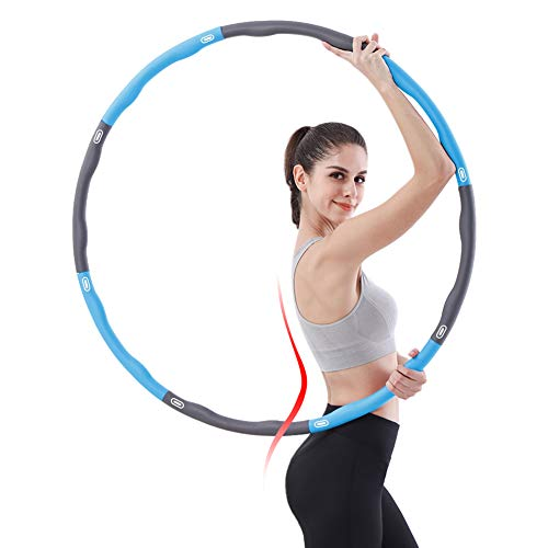 AHCSMRE Collapsible 2 lb Weighted Hula Hoop for Kids or Adults 28 33 38 inch Adjustable Hula Hoop for Weight Loss Detachable Hula Hoop for Fitness Abs Exercise Gym Workout/Dancing