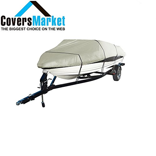 102' Max Beam (CoversMarket Boat Cover Heavy Duty 600D Marine Grade Polyester Canvas Trailerable Waterproof, Color Silver, Fits V-Hull, Runabout Boat Cover, Full Size Boat Cover (20-22, Silver))