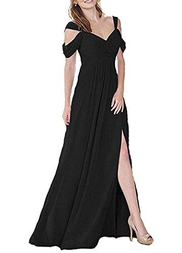 mit Schlitz Abendkleider Line A Black Brautjungfernkleider Lang Damen Abschlusskleider Chiffon anq0BxSFgw