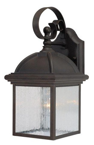 Westinghouse Lighting 6939500 One-Light Exterior Wall Lantern, Textured Rust Patina Finish on Cast Aluminum with Clear Seeded Glass Panels