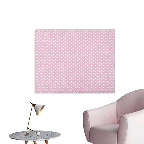 Anzhutwelve Polka Dots Wallpaper Tiny Little Retro Polka Dots Vintage Style Bridal Nursery Kids Room Pattern Art Poster Pink White W48 xL32]()