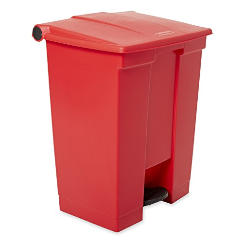 (Rubbermaid Commercial Slim Jim Front Step On Trash Can, Red, 18 Gallon)