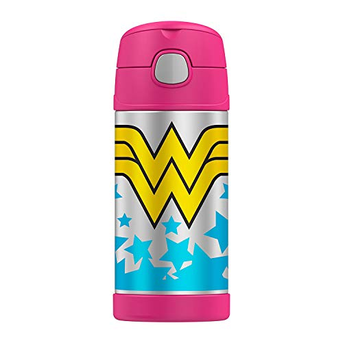 Classic Wonder Woman Logo Thermos Funtainer 12oz Kids Cold Drink Bottle w/Straw by Thermos