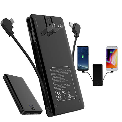 Portable Charger WOBON 5000 mAh Power Bank Ultra Slim External Battery Pack with Built in AC Plug, Type-c Cables for Cell Phone