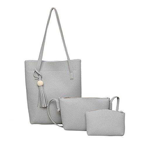 Tong Yue - Bolso al hombro para mujer gris Light Grey Light Grey