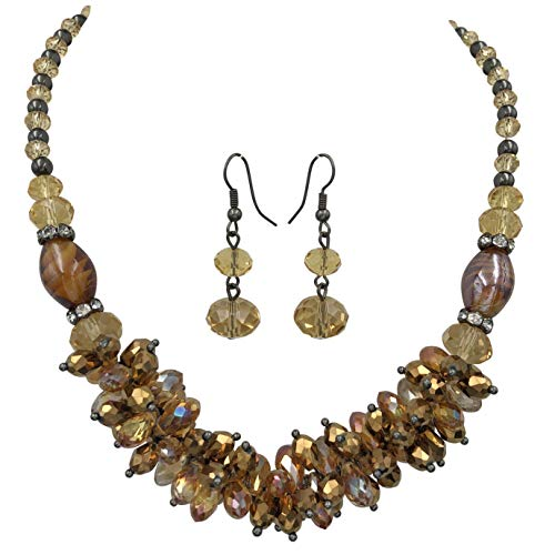 Gypsy Jewels Glass Cluster Beads Silver Tone Statement Necklace & Dangle Earrings Set (Brown Topaz Gun Metal)