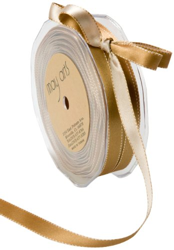 May Arts 3/8-Inch Wide Ribbon, Antique Gold and Champagne Satin