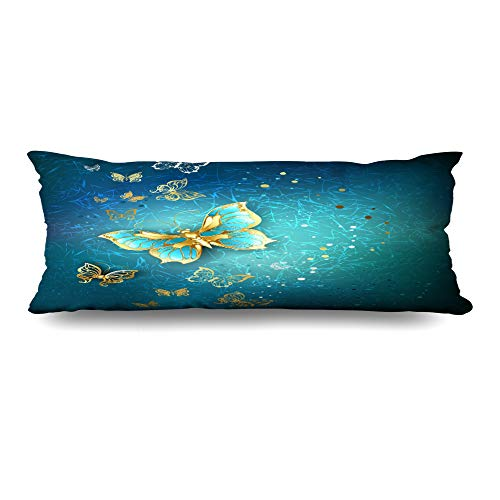 Ahawoso Body Pillows Cover 20x60 Inches Gradient Purple Luxury Gold Butterflies On Blue Textural Wildlife Golden Mystery Steampunk Abstract Decorative Zippered Pillow Case Home Decor Pillowcase