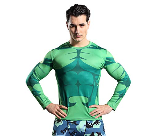 GYm GaLa The Incredible Hulk Men's Long Sleeve Compression Sport Fitness T-Shirt Suitable for Cosplay and Theme Party(4XL, Green) -