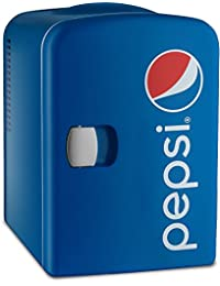 Pepsi Gourmia GMF600 Thermoelectric Mini Fridge Cooler and Warmer - 4 Liter/6 Can - For Home,Office, Car, Dorm or Boat - Compact & Portable - AC & DC Power Cords - Blue