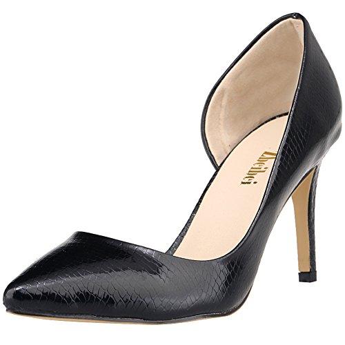 fereshte Women's Classic High Heels Pointed Toe PU Crocodile Design Stiletto Pumps Snake Black RfMA0SI