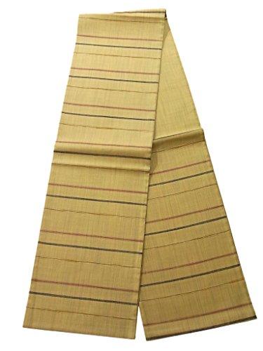 内陸君主平行リサイクル 袋帯 紬 縞模様 正絹 六通