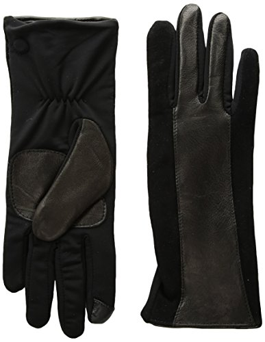 Echo Women's Leather Stripe Superfit Touch Technology Glove, black, Large (Echo Touch Gloves)
