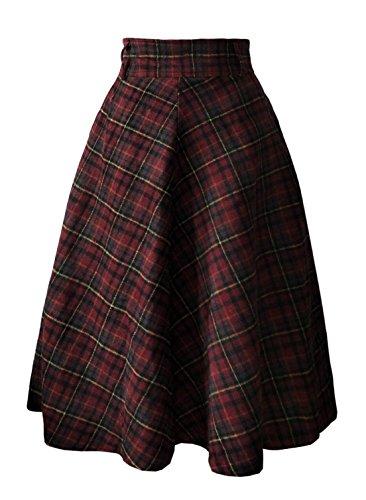 Red Wool Skirt Suit (emondora Women's Plaid A-Line Swing Wool Midi Skirt High Waist Vintage Red Tartan Skirts (Asian/XL-US/L))