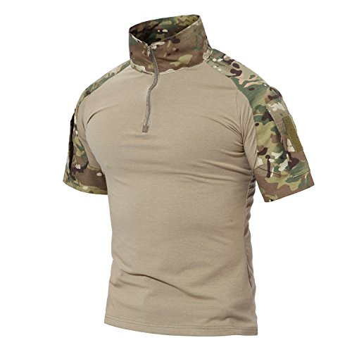MAGCOMSEN Men's Tactical Military Shirts 1/4 Zip Short Sleeve Slim Fit Camo Shirt