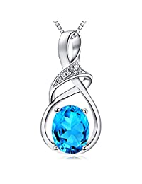 HXZZ Fine Jewelry Gifts for Women 925 Sterling Silver Natural Gemstone Swiss Blue Topaz Amethyst Pendant Necklace
