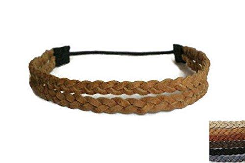 Leather Headband, 2 Strand Braided Headband for Women, Men, Girls by Kelley Threads