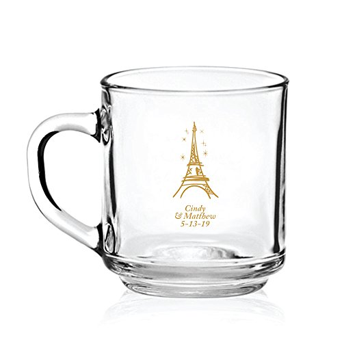 Personalized Color Printed Glass Coffee Mug - Eiffel Tower - Gold - 24 pack by Abby Smith