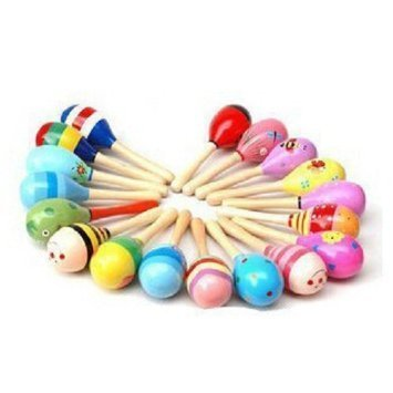 UDTEE 12PCS Mini Wooden Fiesta Maracas(Colors Vary)