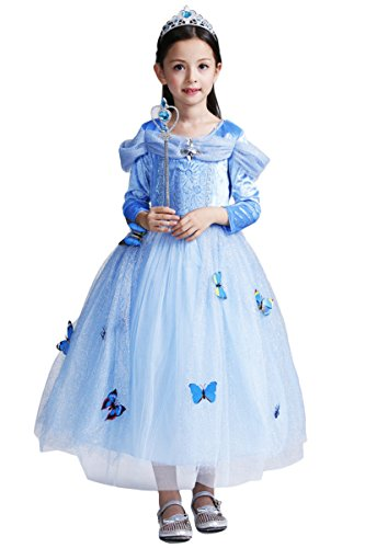 YMING Girls Blue Princess Cosplay Dress Girl Costume 8-9 Years (Princess Jasmine Costume Adults Plus Size)