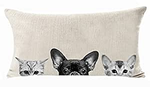 Cartoon Lovely Animal Abstract Adorable Pet Dogs French Bulldog Cats Hide And Seek Cotton Linen Throw Lumbar Waist Pillow Case Cushion Cover Decorative Rectangle 12 X 20 Inches