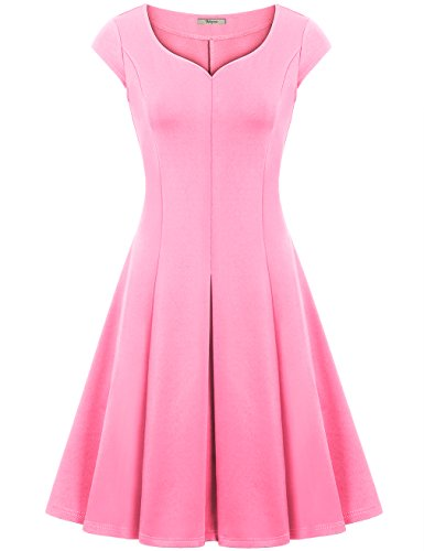 Midi Dress,Bebonnie Women A line Pleated Flared on Trend Casual Party Cocktail Tunic Dress Pink XXL (Pink Sundress Dress)