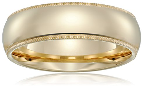 Standard Comfort-Fit 14K Yellow Gold Milgrain Band, 6mm, Size 10 14k Yellow Gold Milgrain Band