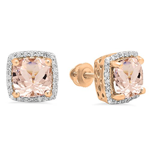 Dazzlingrock Collection 10K 7 MM Each Cushion Morganite & Round Diamond Ladies Square Frame Halo Stud Earrings, Rose Gold