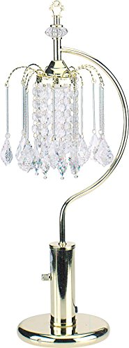 Milton Greens Stars A715G Stella Traditional Crystal Table Lamp with High/Low Switch, 27-Inch, Polished Brass - Crystal Petite Lamp Chandelier