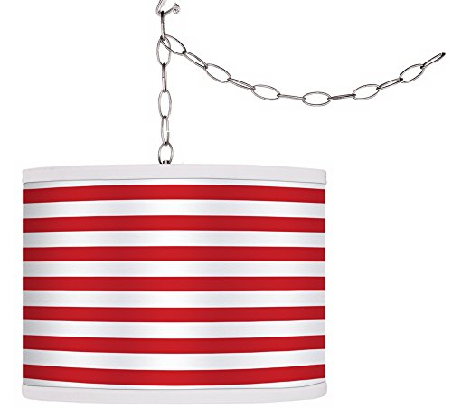 Swag Style Red Horizontal Stripe Shade Plug-in Chandelier (Horizontal Stripe Giclee Shade)