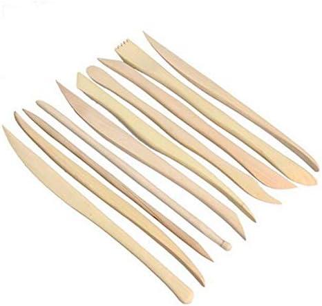 HJ スパチュラ 陶芸 粘土ツール 粘土細工 造形 ツール パテ 粘土ヘラ 木製 粘土彫刻ツール 道具 10点セット (5組セット)