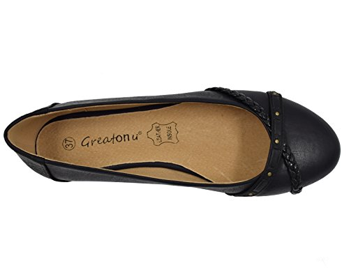 Tressée Greatonu Féminin Noir Ballet Flats Ceinture Greatonu Brossé Dolly Flats 8qg4BdW8