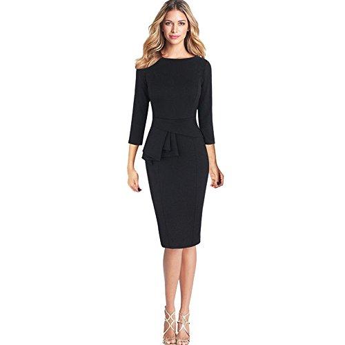 iYBUIA Women O-Neck Elegant Frill Peplum 3/4 Gown Sleeve Work Business Party Sheath Dress