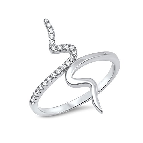 .925 Sterling Silver Coiled Cubic Zirconia Statement Ring ()