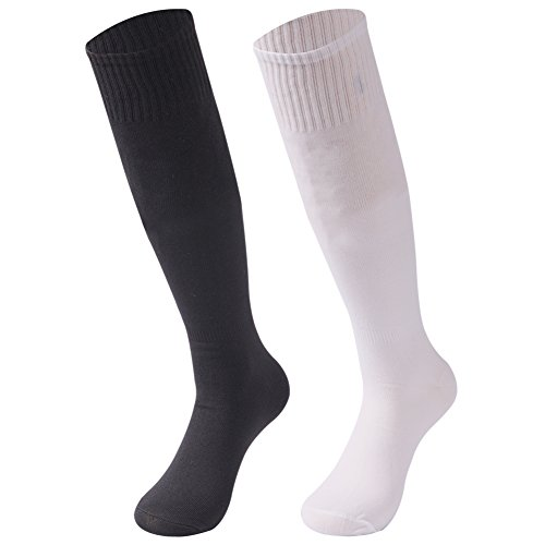 (saounisi Women Football Socks ,2 Pairs Knee High Socks Colorful Fashion Dress Casual Bright Solids Funky Crazy Soccer Team Sports Tube Long Casual Socks Size 9-13 White/Black)