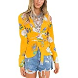 Jahurto Striped Print Bow Tie V Neck Blouse Women Long Sleeve Work Office Blazer Top (Color : Yellow, Size : S)