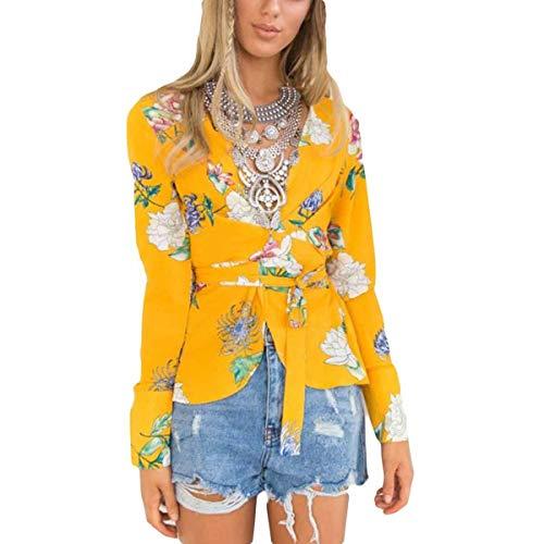 ZFFde Invierno Blusa con cuello en V y estampado a rayas con cuello en V Blusa con cuello en V y manga larga para mujer (Color : Yellow, tamaño : XL)