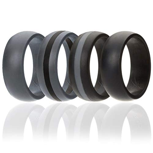 ROQ Silicone Wedding Ring for Men, 4 Pack Silicone Rubber Band - Black, Black with Thin Grey Stripe, Grey with Black Stripe, Grey, Size 13