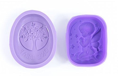 ALL in ONE Silicone Mold for DIY Craft Art Handmade Soap Mold, Cake Mold, Ice Cube Tray, Baking Mold (Angel+Tree-2 Packs)