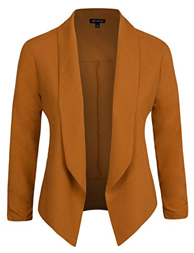 - Michel Womens Casual Blazer Work Office Lightweight Stretchy Open Front Lapel Jacket Camel Medium